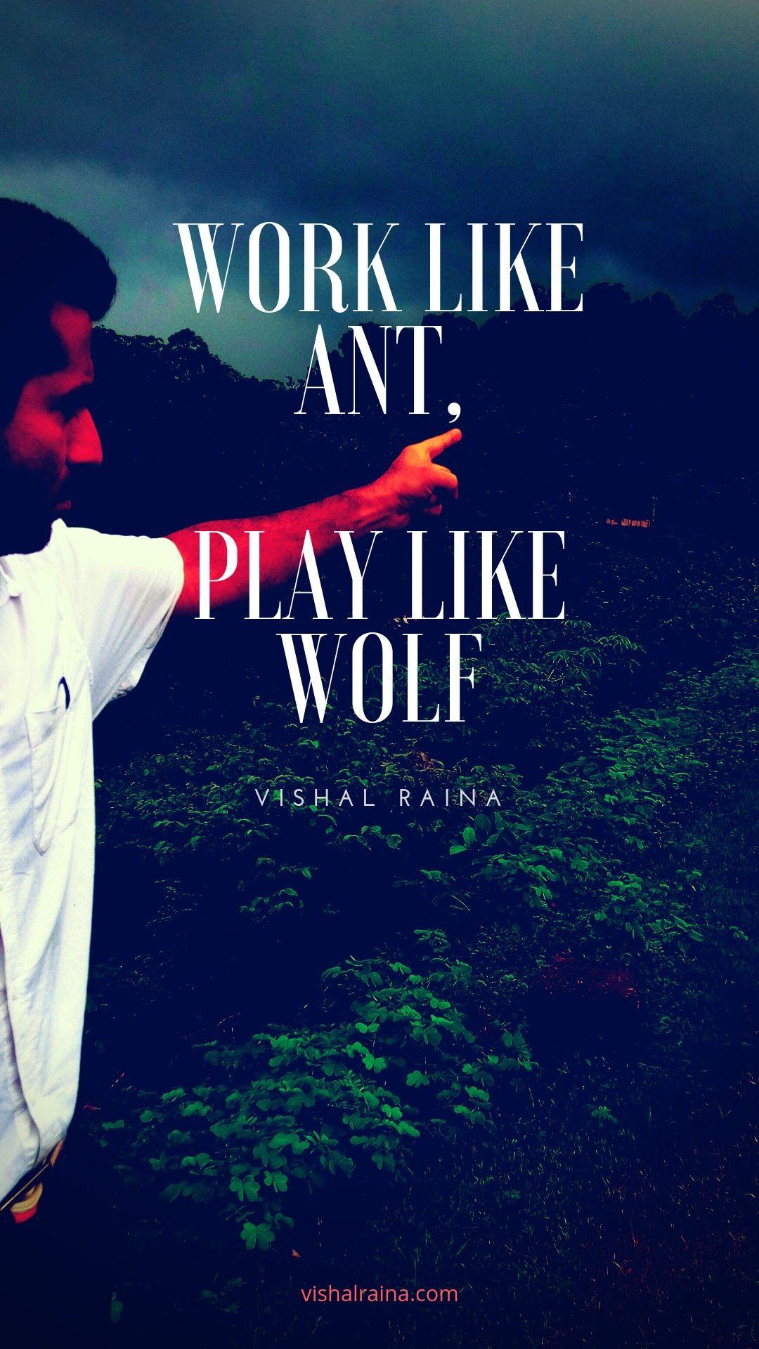 Work Like Ant Play Like Wolf Quote Wallpaper Vishalraina
