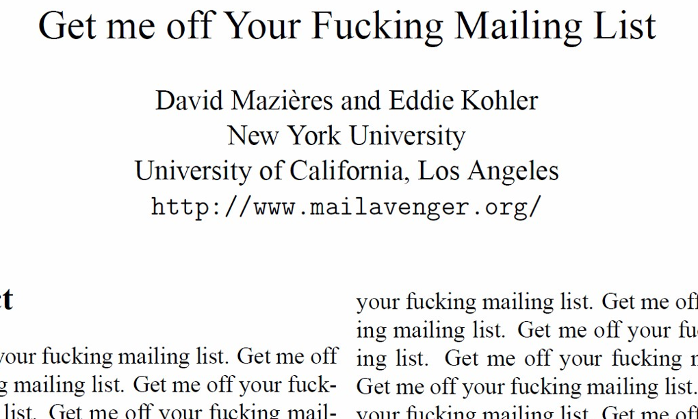 Journal accepts bogus paper requesting removal from mailing list