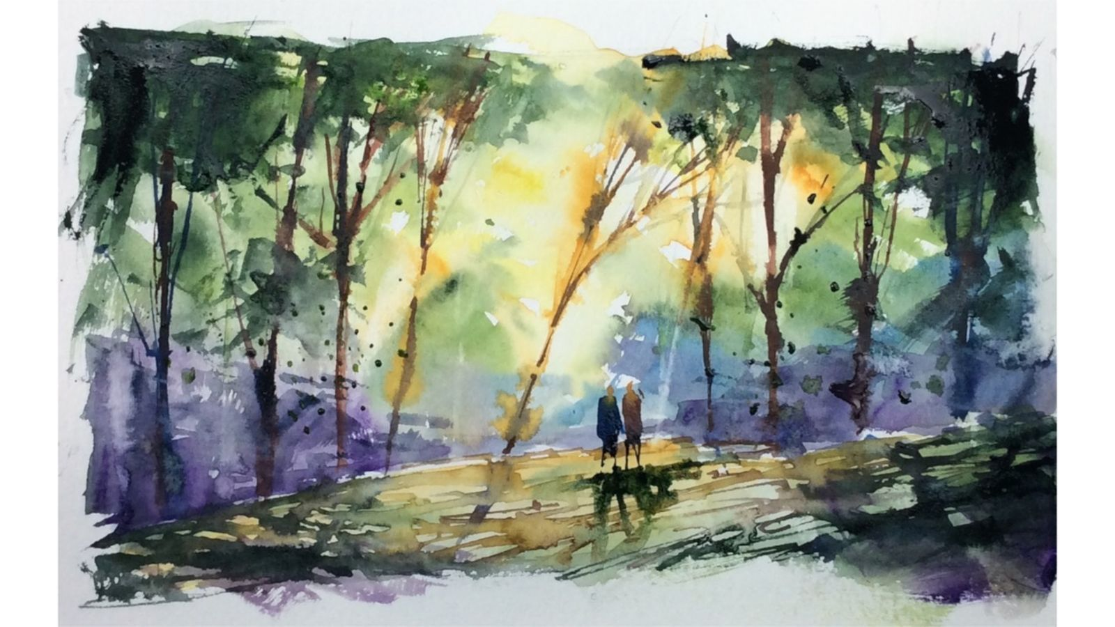 Woodland Peace Watercolor Painting Watercolor Paintings