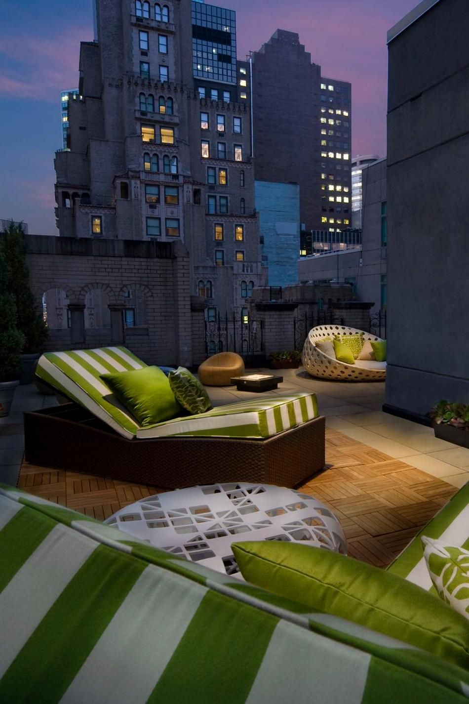Rooftop patio seating at the w hotel new york on lexington