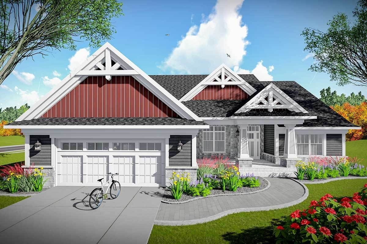 Plan 890082AH 2Bed Craftsman Home Plan with Open Concept