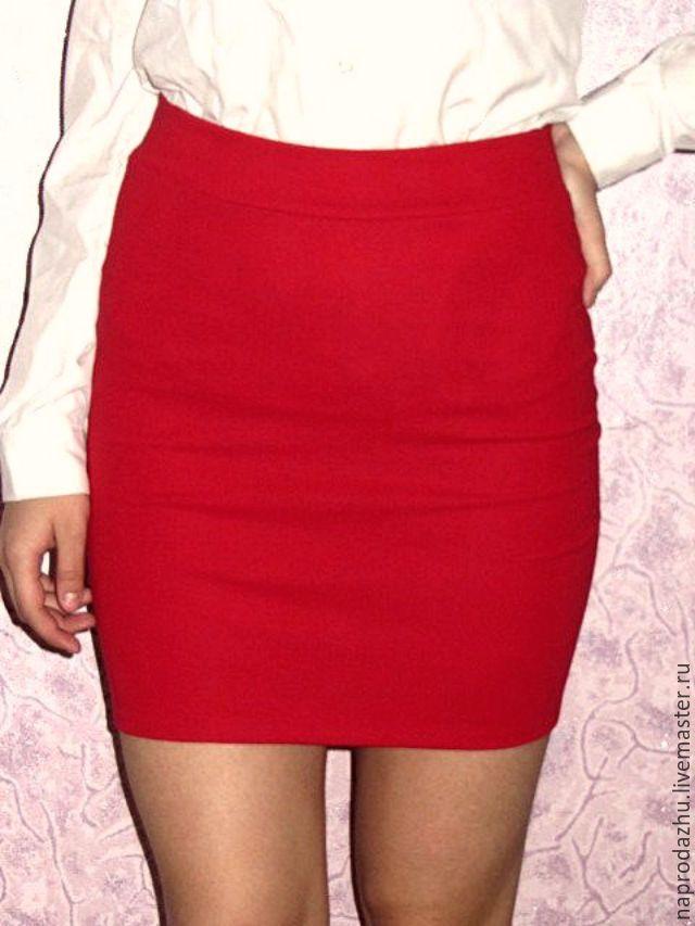 595e020b75a Купить красная трикотажная юбка карандаш резинка - ярко-красный ...