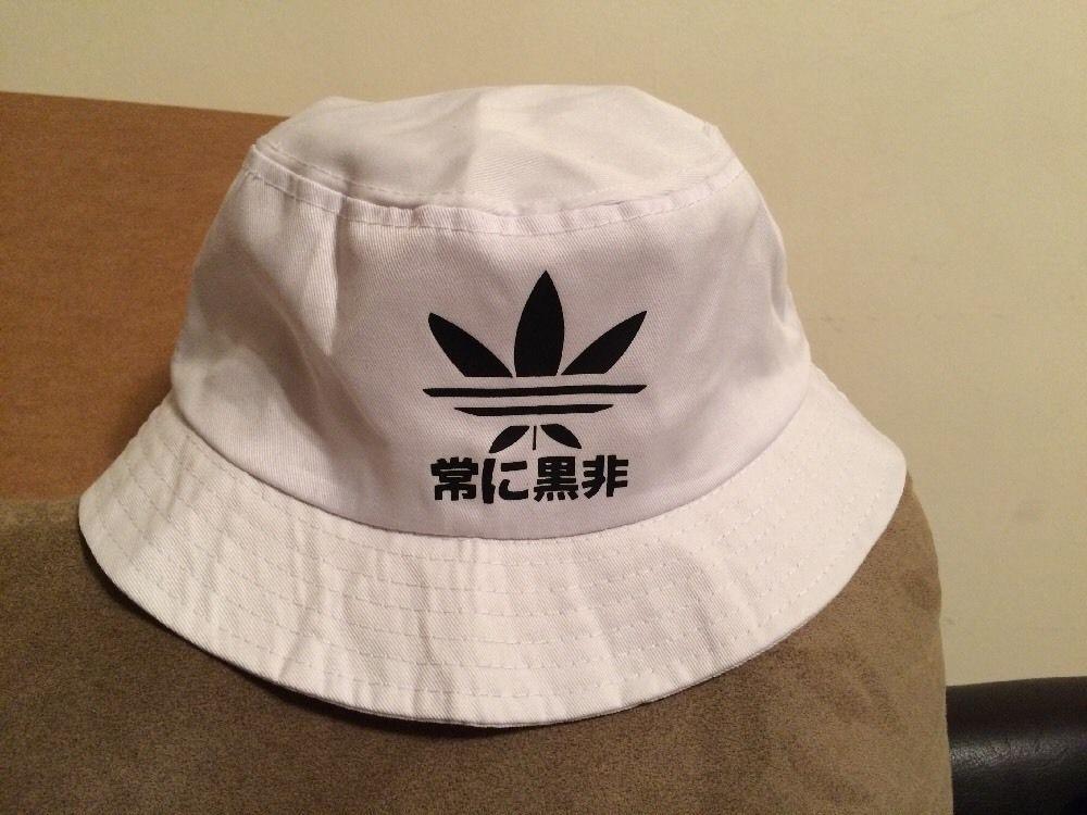 Very Rare KYC Vintage Stussy Adidas Logo White Bucket Hat Sz Medium   KYCVintage  Bucket 8b7114e3bc9