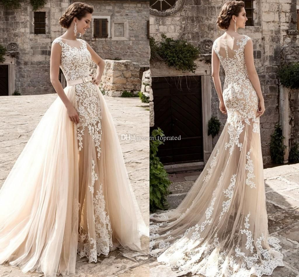 Lace wedding dress champagne   Champagne Over Skirts Tulle Wedding Dresses A Line See Through