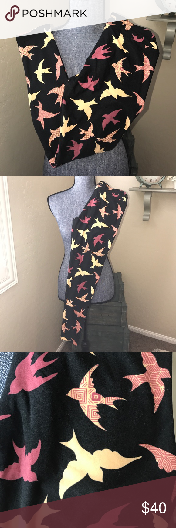 64a8b49c1e10a1 New Lularoe OS Bird Leggings These are gorgeous!! Black background with  light tan and