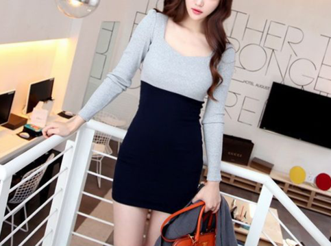 Syndromestore, 23 dollars, Korean Blue and Navy Dress (For when you wanna look professional yet cute)