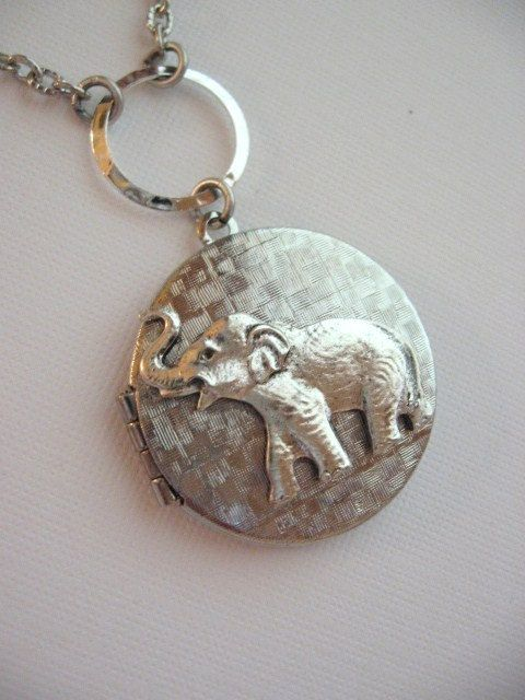Hidden Locket Elephant Necklace Small Secret Compartment Women/'s Necklace Safari Pachyderm I Love Elephants Keepsake LocketStatement Gift