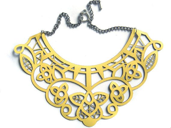 Yellow leather necklace  laser cut lace design by EmilydeMolly, $65.00