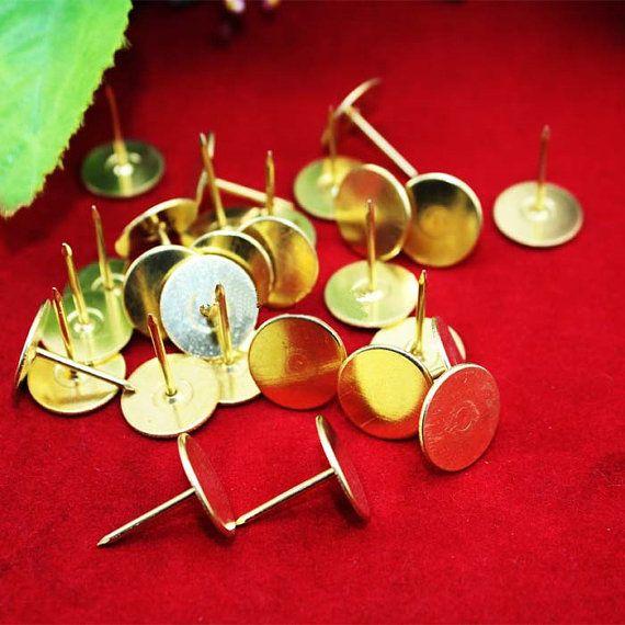 50 PCS 18x15mm Flat Head Round Yellow Colour Upholstery Tack Nail Decorative  Furniture Stud Thumb Pin