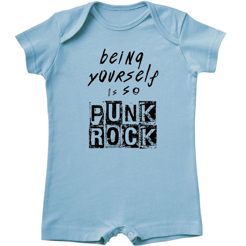 Being Yourself Is So Punk Rock Baby Shorty Romper is part of Baby Clothes Punk - Maybe you play Star Wars when everyone else is playing Barbies  Maybe you prefer tigers to kittens  Maybe you're tough AND look awesome in pink  Maybe you'd rather rock your baby doll than rock 'n' roll  Maybe you prefer baking things to breaking things  Maybe you chose the sparkly purple flip flops last summer instead of the brown ones  That's awesome! Being yourself is so punk rock  Kids who do things their own way were the inspiration for this design  Because being a little different isn't just okay  it's actually really, really cool  Fashionable Garments, Ethically Produced All of our clothes are designed in Seattle, ethically cut and sewn abroad inWorldwide Responsible Accredited Productioncertified facilities so you know they're sweatshopfree and guaranteed free of child labor,and screen printed with tons of love in the USA  Sizing and Fit Our shorty rompers runtrue to sizeand the fit isrelaxed and stretchy The material is a super soft baby rib fabric that stretches and flexes for a perfect,snuggly fit  Your romper will shrink a bit the first time it is washed  Fabric Content 100% cotton