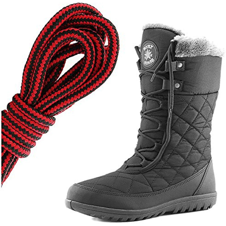Women's Comfort Round Toe Mid Calf Flat Ankle High Eskimo Winter Fur Snow Boots Black Lime