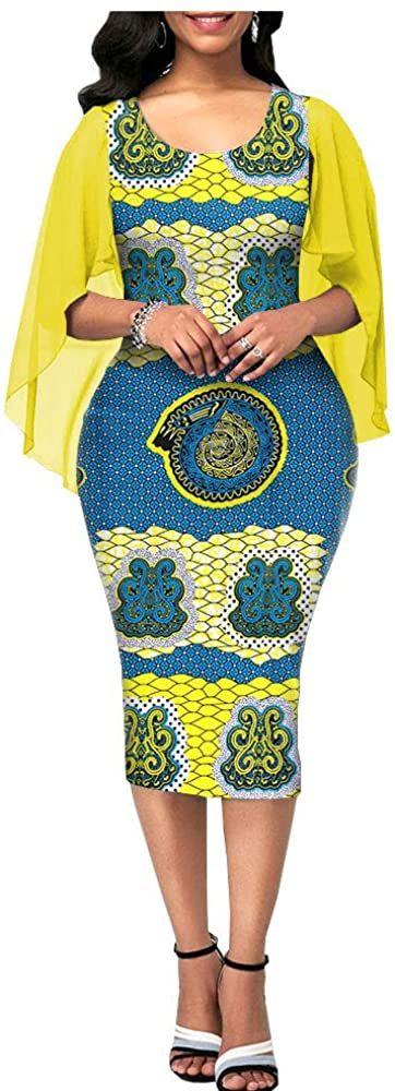 African Ankara Print Women Summer Dress Tailor Made Chiffon Sleeve O-Neck Mid-Calf Length 100% Wax Cotton Made AA1825091