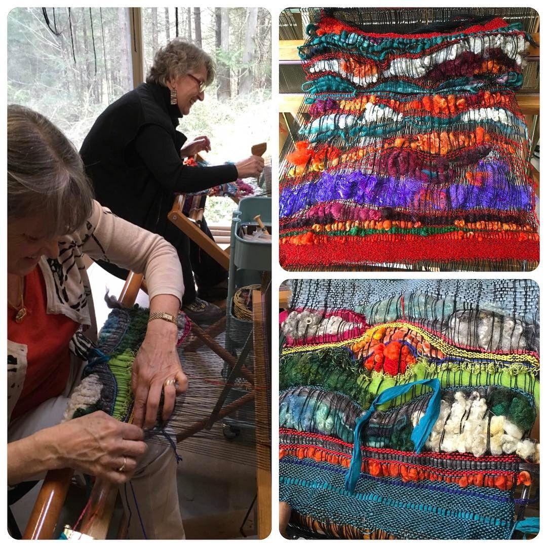 Two friends come to weave and are inspired by each other!  Fantastic, creative, textured weaving ✨ #saoriweaving #weaving #workshop #saltspringisland #handmade #textiles #localfibre @lorrieslocks @darngoodyarn