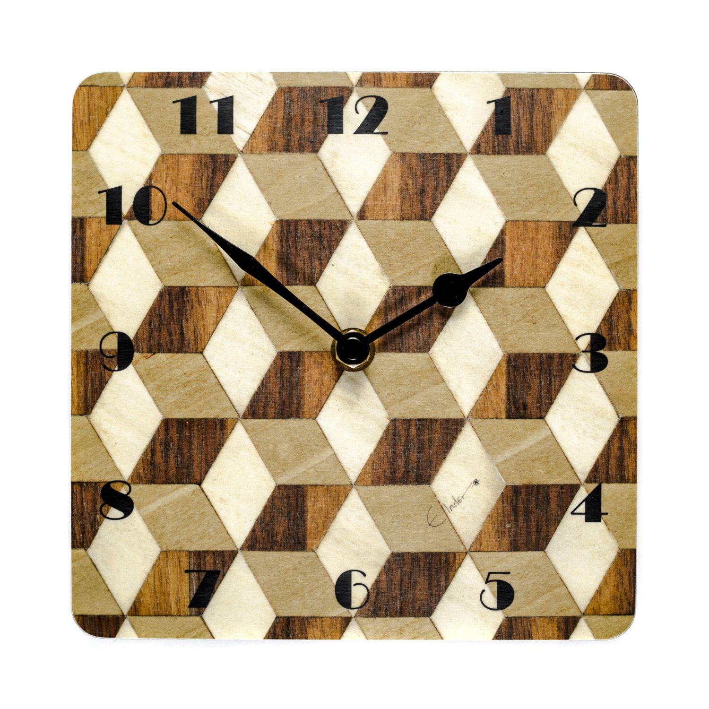Wall clock walnut birthday gift for dad geometric clock art deco