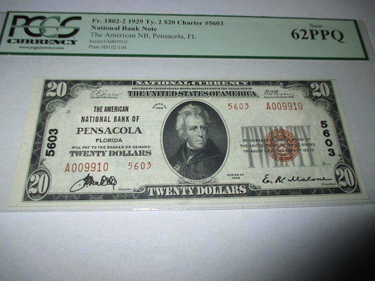 20 Pensacola Florida Fl National Currency Bank Note