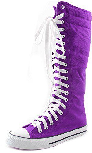 c120050cb3929e Women s Knee High Punk Sneaker Boots Punk-Hi Purple