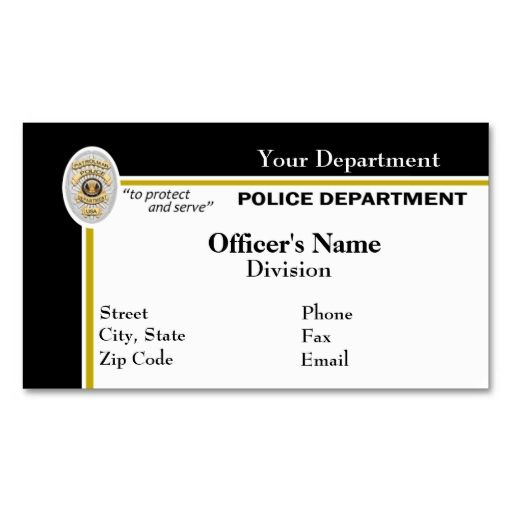Police Business Card Black And White Business Card Templates
