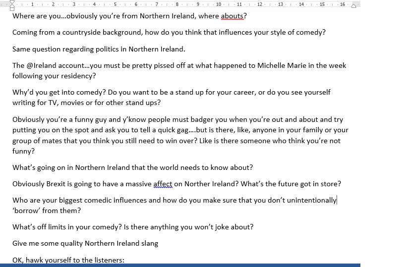 Interview Questions From The Comedy Cast Interview With Northern Irish  Comedian Francis Breen