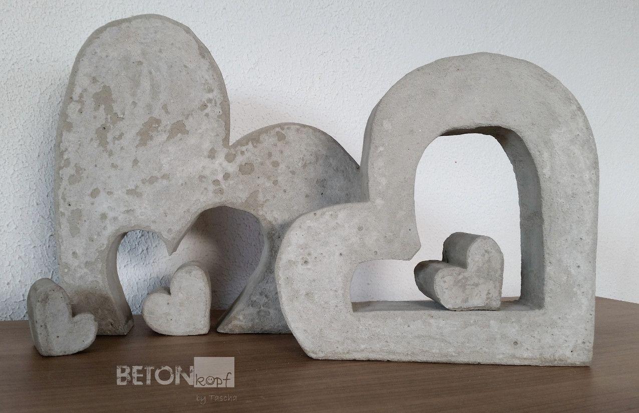 Betonkopf Handgemachte Betondeko Concrete Heart Crafts Diy Gardening Homedecoration Herz Aus Beton Betonherz