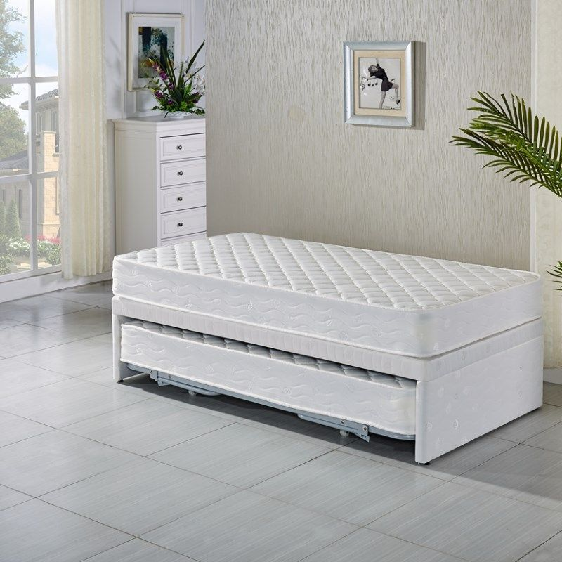 King Single White Bed Frame W Trundle 2 Mattresses Single Beds