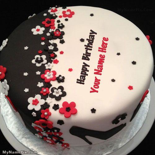 Elegant Birthday Cake With Name Happy Birthday Pinterest