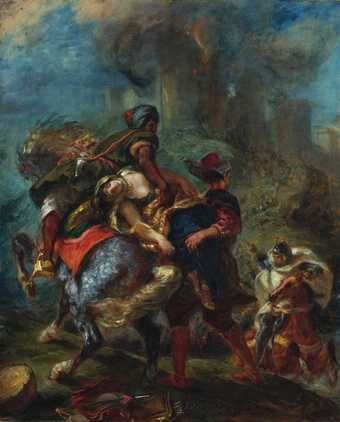 Eugène Delacroix (French, Charenton-Saint-Maurice 1798–1863 Paris), The Abduction of Rebecca,1846, Oil on canvas. This painting depicts a scene from Ivanhoe: the Jewish heroine Rebecca, who had been confined in the castle of Front de Boeuf (seen in flames), is carried off by two Saracen slaves commanded by the covetous Christian knight Bois-Guilbert.