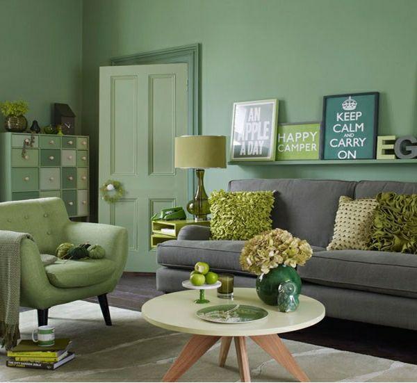 grünes Wohnzimmer einrichten grau Deko Kissen | Grüne ...