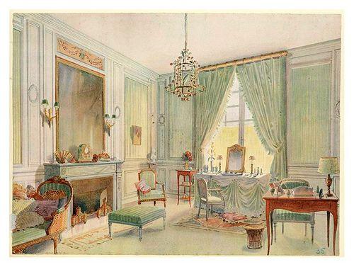 Boudoir luis xvi con chaise longue acuarela 1907 luis for Decoracion de interiores luis xv