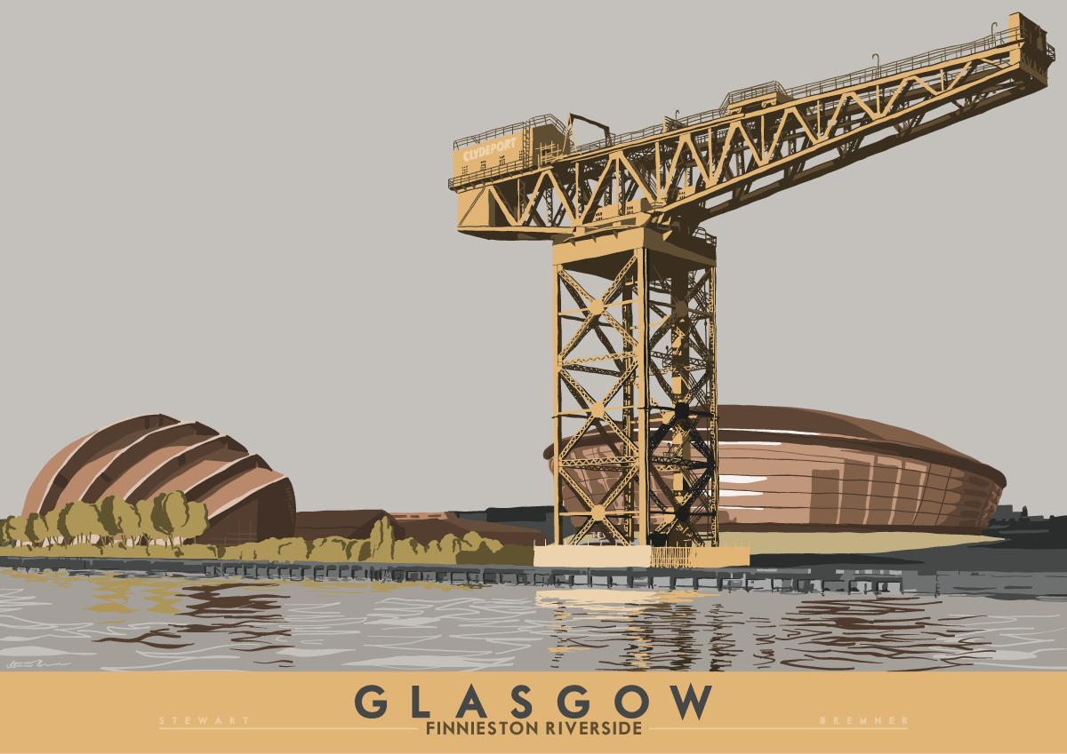 Glasgow: Finnieston Riverside – Giclée-Druck – grau / A2 – 420 x 594 mm