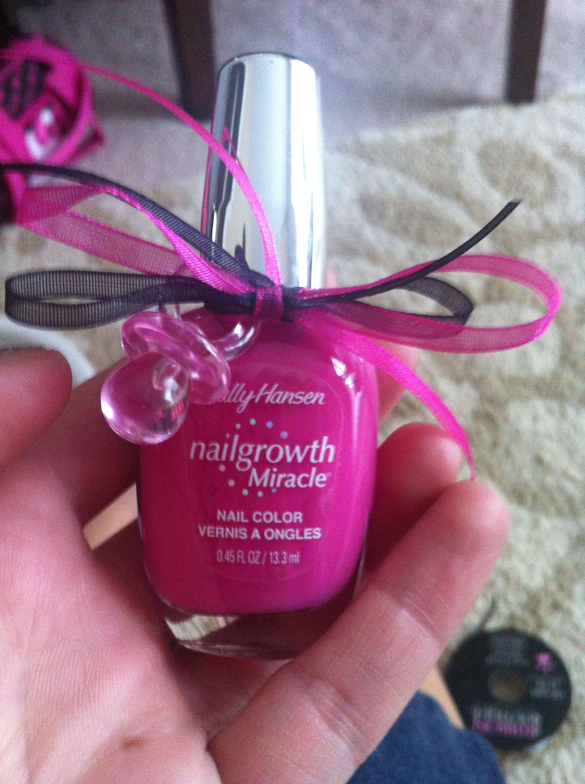 Pink Girl Baby Shower Favor Ideas Polish Passifier Ribbon -7283