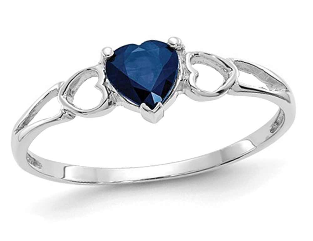 1 2 Carat Ctw Natural Blue Sapphire Heart Promise Ring In 14k White Gold Walmart Canada Natural Blue Sapphire Heart Promise Rings Promise Rings