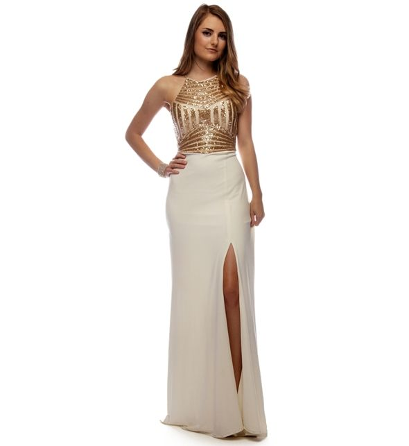 Lina- Ivory Prom Dress- High neck gives off the vintage Hollywood ...