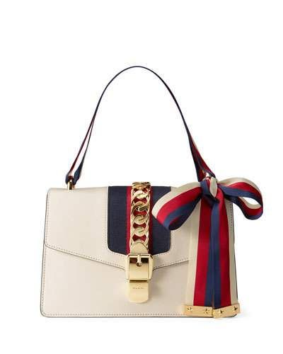 acf87f510 GUCCI SYLVIE SMALL LEATHER SHOULDER BAG, WHITE/RED/BLUE. #gucci #bags  #shoulder bags #leather #lining #