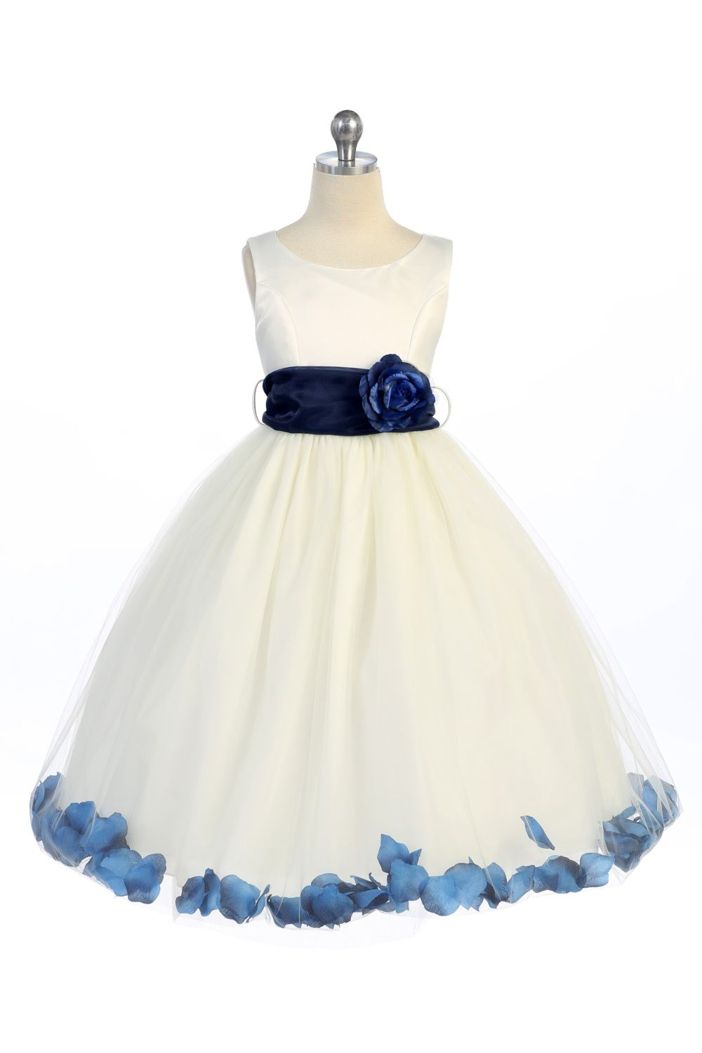 Ivorynavy blue satin tulle petal flower girl dress with sash ivorynavy blue satin tulle petal flower girl dress with sash flower o152 izmirmasajfo Image collections