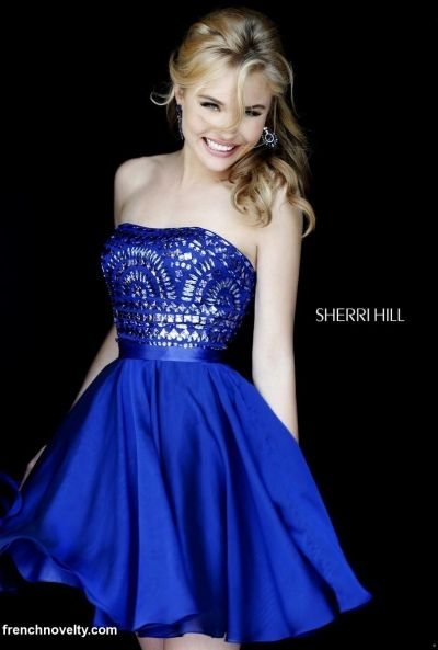 837b598a67 Sherri Hill 1961 Short Party Dress with Beading- Short strapless homecoming  dress features a beaded design on the bodice.