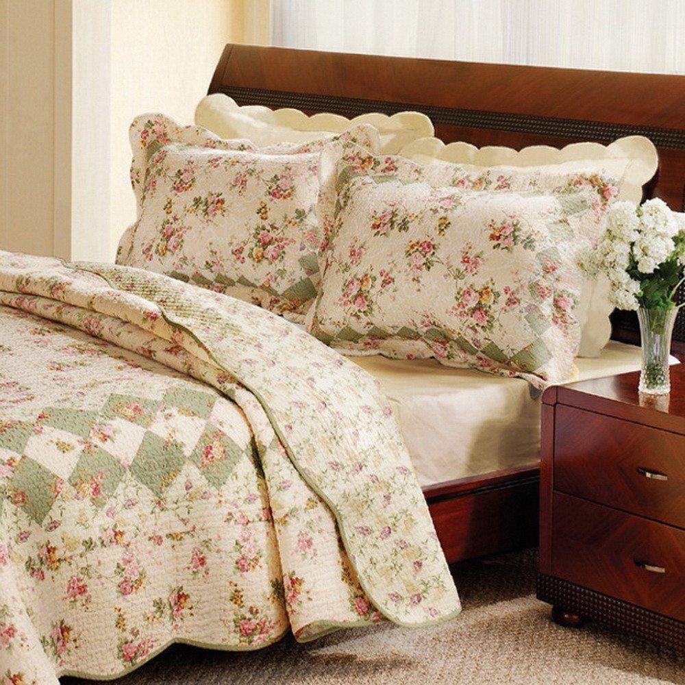 Romantic Vintage Floral Tea Rose Cotton Patchwork Quilt Set