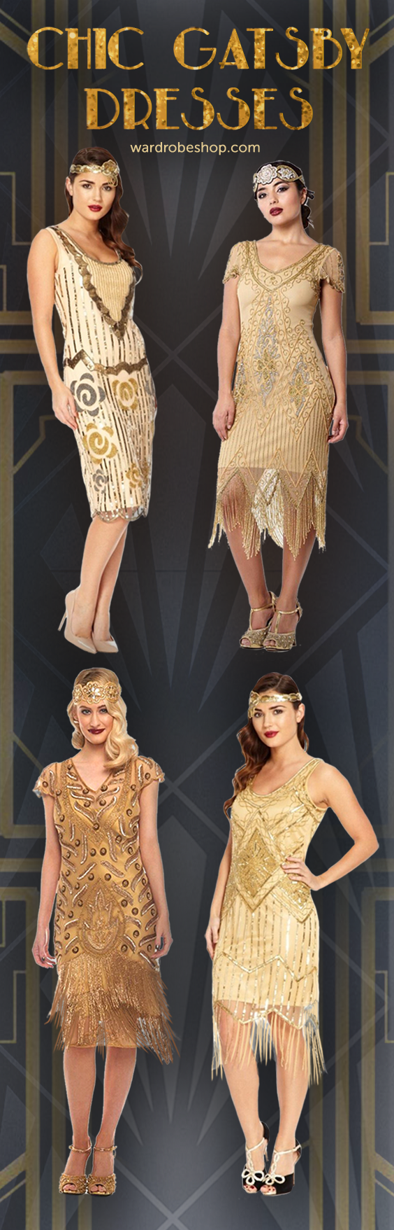Great Gatsby Inspired Look 1920s Themed Party Vintage Style Outfit Roaring Twenties Retr Great Gatsby Fashion Roaring 20s Fashion Flapper Style Dresses [ 1757 x 564 Pixel ]