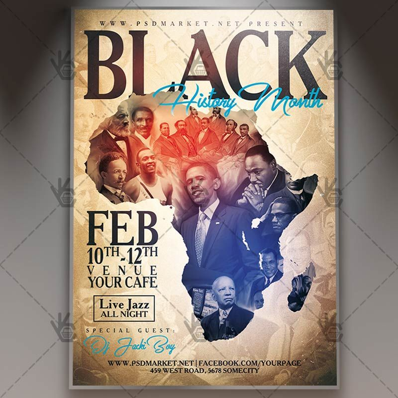 Black History Month Club Flyer Psd Template Black History Month