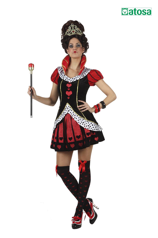 Disfraz de mujer reina de corazones, queen of the hearts