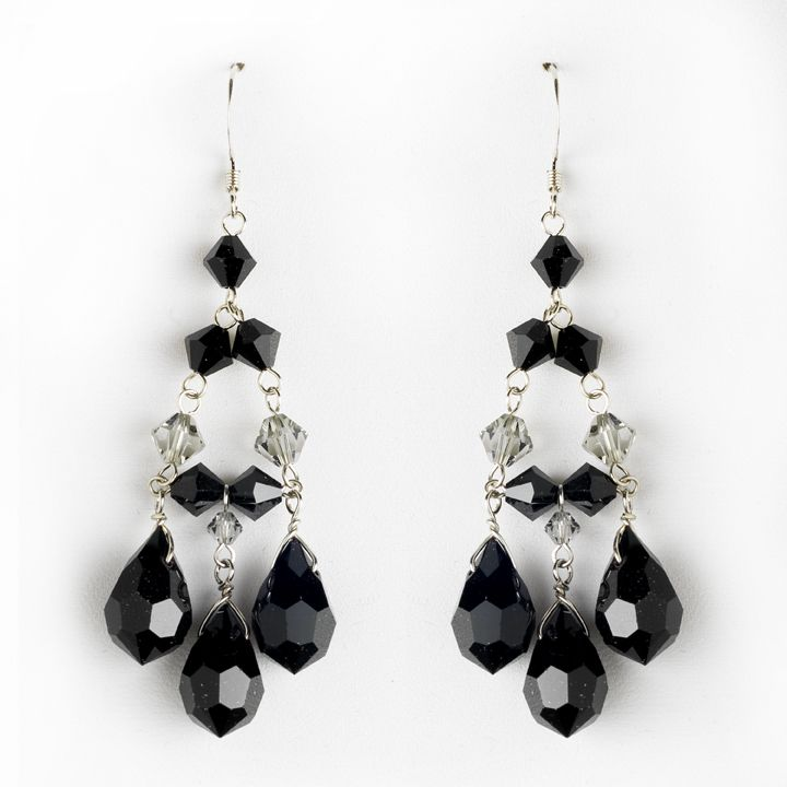 Black crystal chandelier earrings for wedding and prom chandelier black crystal chandelier earrings for wedding and prom mozeypictures Image collections