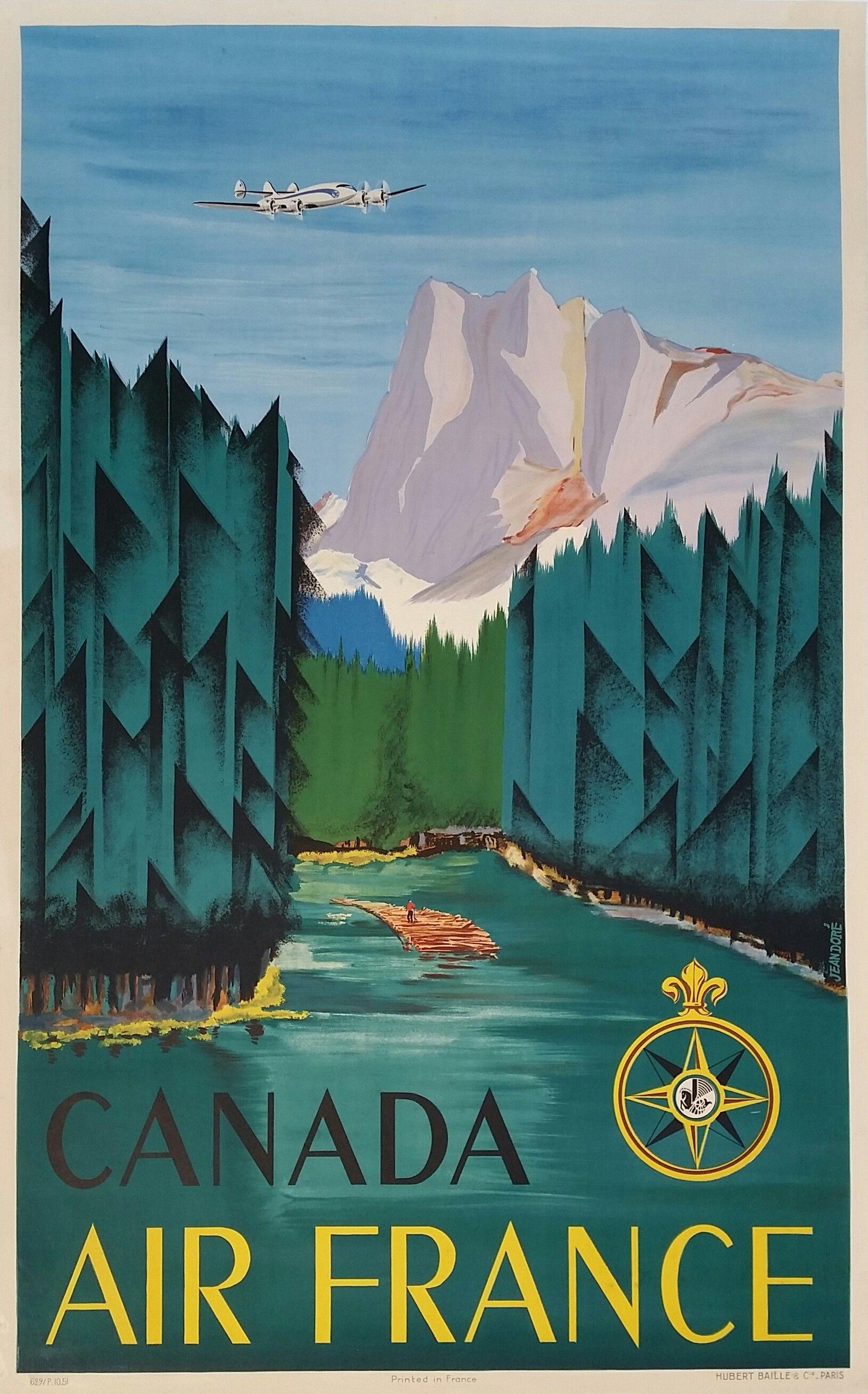 Original vintage poster Air France Canada - Jean DORÉ - Ref 629 / P ...