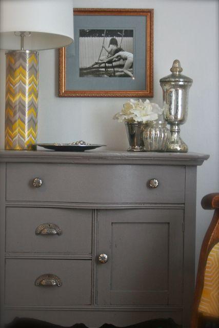 from HouseTalkN: I Painted My Dressers...Don't Tell My Mom! blog. I wonder where she got the chevron lamp???