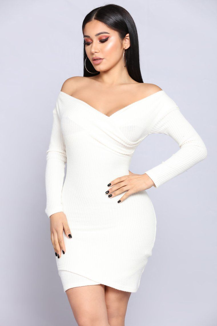 Depend on me sweater dress ivory smart casual dress