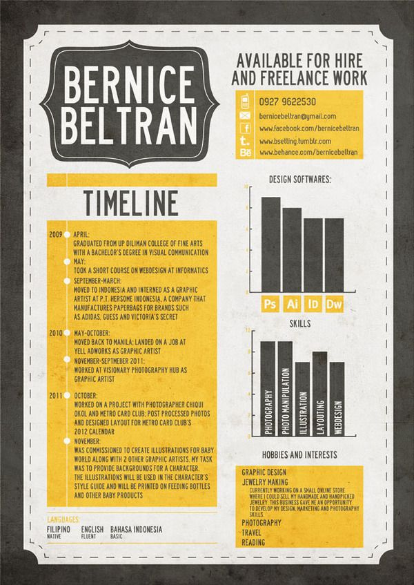 love this  inspiration for resume for graphic design  cv by bernice beltran  via behance  like