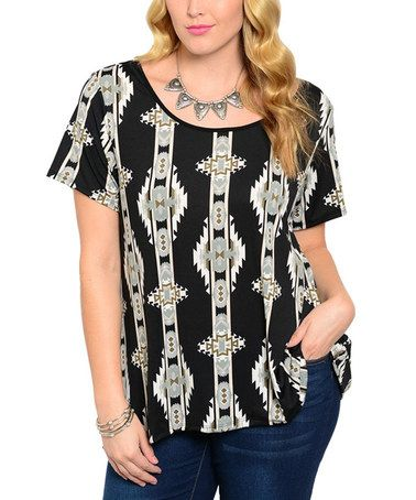 Another great find on #zulily! Ivory & Black Open-Back Scoop Neck Top - Plus #zulilyfinds