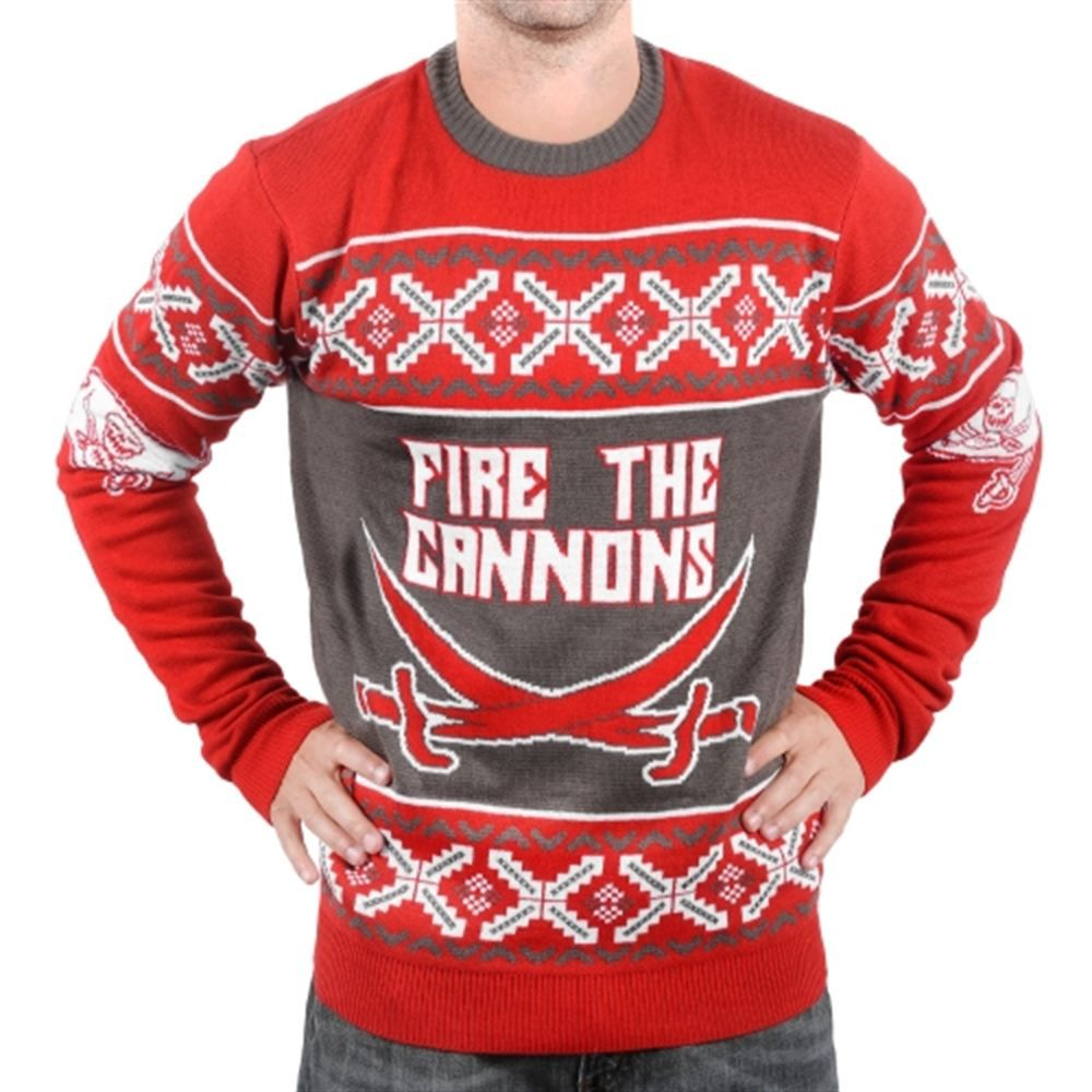 Top Tampa Bay Buccaneers Klew Unisex Slogan Crew Knit Ugly Sweater Red