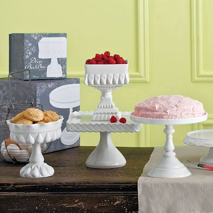 elegant pedestal cake plates  and serving bowls