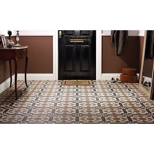 Wickes Dorset Marron Patterned Ceramic Tile 316 X 316mm Tile Floor Wet Room Flooring Traditional Tile