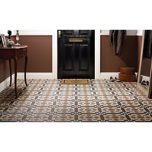 Wickes Dorset Marron Patterned Ceramic Tile 316 X 316mm
