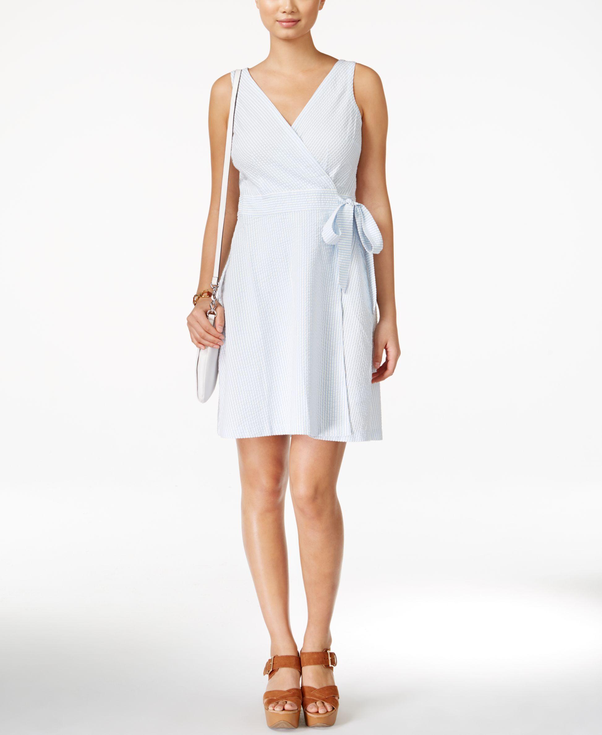 Tommy Hilfiger Seersucker Wrap Dress Dresses Wrap Dress